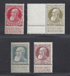 Belgium 1905 - Leopold with coarse beard - OBP 74, 75, 76 and 77