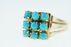 14 kt gold ring set with turquoise pearls, ring size: 18.25