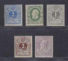 Belgium 1869/1900 – Selection classical values – OBP 27, 30, 43, 44 and 52