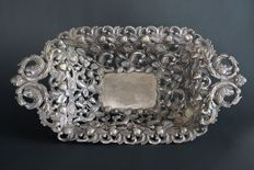 Pierced silver tray, L. Klebe, 19th century