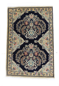 Double Vase Design  Persian Shishla  Nain Bedside Rug c. 73x48cm   Excellent Condition