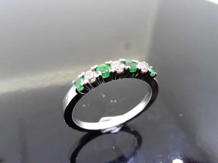 18k Gold Emerald and Diamond Eternity Ring - size 53