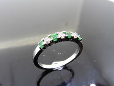 Platinum Emerald and Diamond Eternity Ring - size 53
