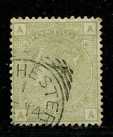 Great Britain 1873/1880 – Queen Victoria – 4 pence sage green, plate 16, Stanley Gibbons 153
