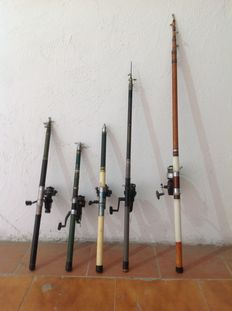 Five fishing rods and five reels