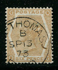 Great Britain 1872/1873 – Queen Victoria – 6 pence pale buff plate 11 Stanley Gibbons 123 Used Abroad St. Thomas