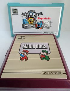 2 multi-screen handheld Nintendo Game & Watch-MARIO BROS and SQUISH-Japan 1983 and 1986