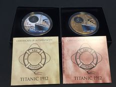British Virgin Islands - 2 x $2 - RMS Titanic arrival + departure 2012 - 2 piece colour edition - each 42.0 grams - 999 bronze with box and certificate
