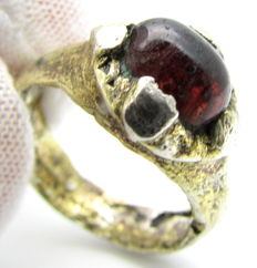 Saxon Era Gold-Gilded Silver Ring with Stone - 17mm