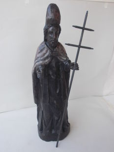 Large-sized and antique wooden sculpture, extremely rare, depicting St Adrian of Caesarea - Southern Europe - 17th / 18th century