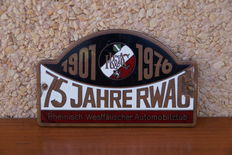 Sign of the Westfälischer Automobil Club (RWAC), 75th anniversary
