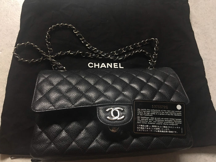 a81dc9c52303 100% authentic CHANEL Medium Black Caviar Classic Double Flap Bag, 2.55  silver