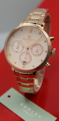 Radley – Ladies Rose Gold Plated Chronograph Watch – New & Mint Condition