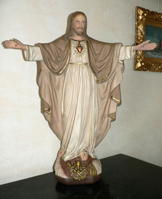 Statue of a saint, Sacred Heart - plaster - Flanders (Belgium) - 20th century