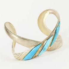 Solid .925 Sterling Silver, Turquoise Bracelet - Weight :  30.2 Grams, Diameter : 55 mm