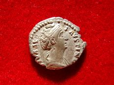 Roman Empire - Diva Faustina (died 140/1)  silver denarius (2,86 g. 17 mm.). Rome, posthumous issue minted after her death in 141 A.D. CONSECRATIO. Ceres holding torch.