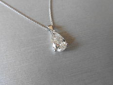 18k Gold Pear Diamond Pendant and Chain - 0.40ct J SI1