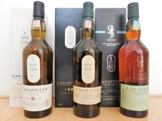 3 bottles - Lagavulin 200th anniversary, 3 Limited Editions: 8, & 12 Natural Cask Strength & 16 Distillers edition.