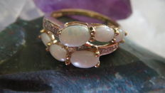 Gold women's ring set with 6 natural Australian Opals and 10 diamonds