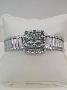 750 white gold bracelet – Made in Italy – With approx. 0.50 ct emeralds – Size: 19.5 cm