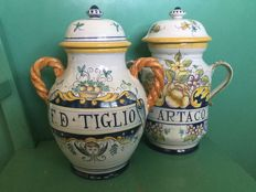 Two hand painted Deruta pharmacy pots