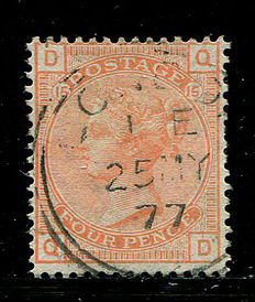 Great Britain 1873/1880 – Queen Victoria – 4 pence vermilion, plate 15, Stanley Gibbons 152