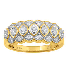 New 14kt yellow gold ring with round diamonds. 0.51ct total diamond weight. Finger size Q (free resizing in Antwerp)