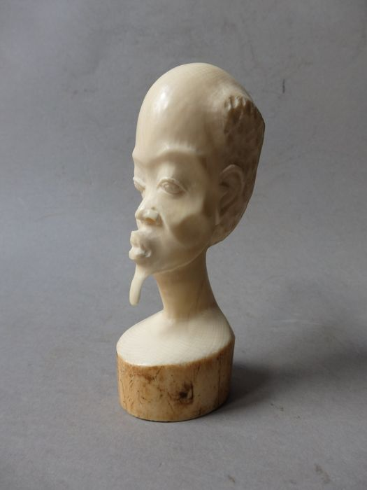 African bust in Antique ivory - KASAI - D.R. Congo