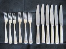 Auerhahn model number 222 - Art Deco - Bauhaus - fruit cutlery (rare additional cutlery pieces) - 12 pieces - 90 silver plating