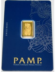 2.5 g Gold bar, Pamp Suisse with Certificate