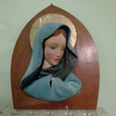 Antique wood and plaster Madonna, restored