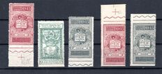 Italy 1921 - Lot of Imperforated Varieties - Sass#: 116ha, 117h, 116ah, 116g, 116ag