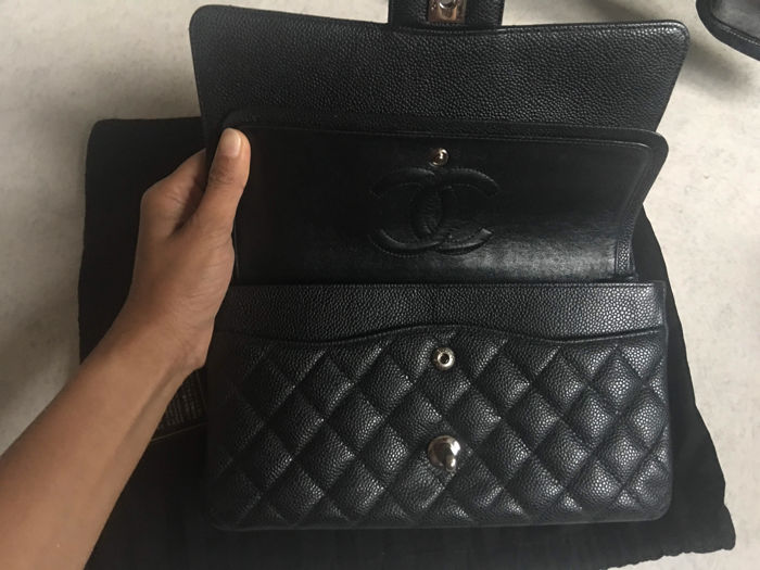 bbcd685ae89fc2 100% authentic CHANEL Medium Black Caviar Classic Double Flap Bag, 2.55  silver