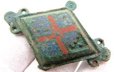 Ancient Roman Enameled Lozenge-shaped Plate Brooch  - 60 mm.