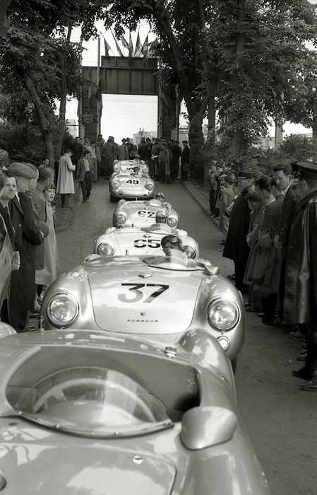 1955 Le Mans 24 Hour Porsche 550 Spyder Black and White  Photograph. 54cm x44cm