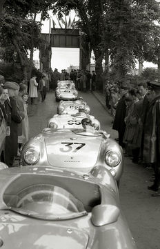 1955 Le Mans 24 Hour Porsche 550 Spyder Black and White  Photograph. 54cm x44cm.
