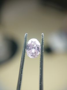 0.33 ct Oval cut diamond Fancy Intense Pink Purple Even I3