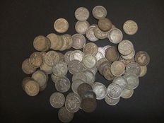 United Kingdom - 3 Pence 19e and 20e century + 6 Pence and Shilling 1887 (82 pieces) - silver