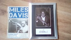 Miles Davis  signed ( printed ) framed photograph & repro metal concert sign.