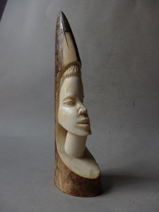 African tusk in antique ivory with bust - KASAI - D.R. Congo