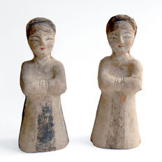 Pair of Mingqi - Terracotta - 26,5/26 cm (2)