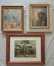 3x oil on canvas - Indonesian painting - signed A.A. Rais, Gita & Tirisita - Bali - Indonesia