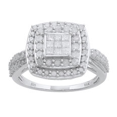 1.02ct round and princess cut diamond 925 silver ring set . G/H colour and P3(Princess Cut) & Promo-PK1(Round Single Cut) clarity. Finger size Q (free resizing in Antwerp) ***No reserve price***