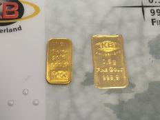 Switzerland - KB Gold 2 pieces gold bullion - 1 x KB with certificate & blister packaging 1 x Raiffeisen bar lots