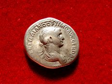 Roman Empire - Trajan (98-117 A.d.) silver denarius (3,34 g. 19 mm.). Rome mint 101-102 A.D. P M TR P COS VI P P SPQR. Genius nude with patera and ears.