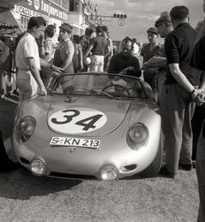 1960 Porsche 718 Le Mans 24 Hour Black and White Photograph.