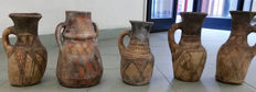 Five terracotta vases of from Southern Europe, probably Spain with Arabic influences