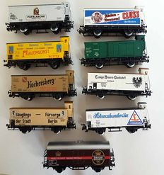 Märklin H0 - Lot of 8 advertising carriages for beer and other with braking cabin of different rail country