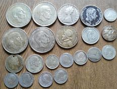 World – Lot of 21x coins (Canada, Italy, Panama, Portugal, Spain, Switzerland, etc.) 1867/1966 – Silver