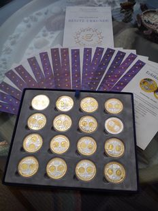 Europe - various Euro medals (16 different) in coffer - silver, partly gold-plated.